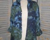 Unisex Linen Shirt, Tie Dye Top, Upcycled, Resort Wear, Festival Shirt, Musician Shirt, Rockstar