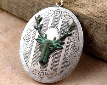 Verdigris Deer Necklace, Vintage Silver Locket, Stag Necklace, Deer Pendant, Long Necklace, Photo Locket