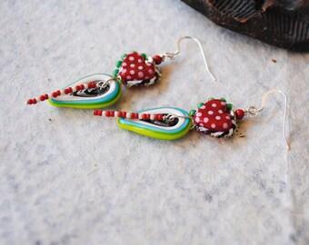 Heart Earrings, Artisan Lampwork Earrings, Red Heart Earrings, Lampwork Bead Earrings, Funky Valentine Earrings, Polka Dot Heart Jewelry