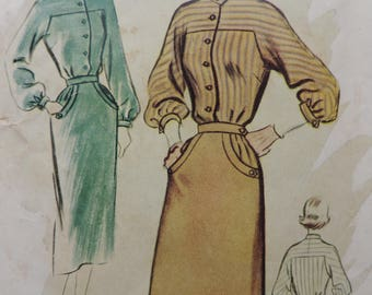 Vintage 1940s McCall's 8657 Sewing Pattern New Look Tailored Blouse and Skirt Size 13