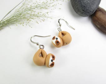 Sloth Earrings, sloth jewelry, sloth gifts, animal charm, sloth charm, polymer clay, cute earrings, animal earrings, unique earrings gift