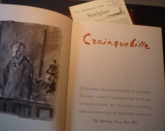 Crainquebille - Anatole France Illustrated by Bernard Lamotte 1949 First Edition Heritage Press w slipcase sandglass for readers