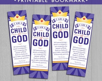 2018 LDS Primary Theme Bookmark Printable (Instant Download) - I Am a Child of God