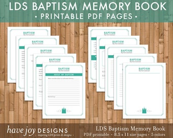 LDS Baptism Memory Book Printable, 8.5 x 11 size pages in 5 color options (Instant Download)