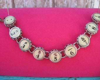 Typewriter Key Bracelet - Antique Typewriter Jewelry -  B5003 - Numbers