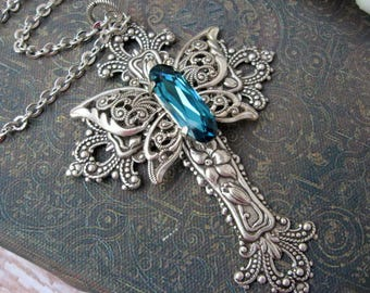 Silver and Blue Butterfly Crystal Cross Cross Necklace - N124