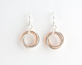 Sterling Silver 14k Rose Gold Fill Infinity Love Knot Chainmaille Earrings Mobius Chain maille