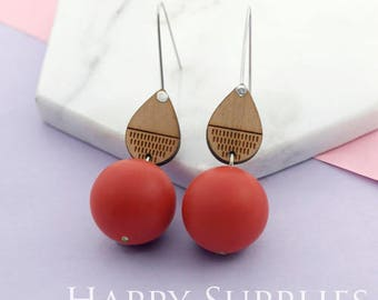 1 Pair (SBW24F) Silicone Balls Laser Cut Geometric Wooden Dangle Earrings - HEW Series - Ocean Sea Summer Beach