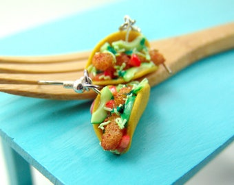 Food Earrings // Fish Taco Earrings MADE TO ORDER // Fast Food Jewelry // Dangly Earrings