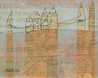 Original Mixed-Media Encaustic Painting by Janet Nechama Miller - with each building we hold histories & stories