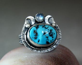 Sleeping Beauty Turquoise Crenscent Moon Ring, Bohemian Style Blue Moonstone Coctail Ring