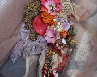 Victorian posy brooch - bold ornate brooch , antique lace, embroidered and beaded brooch, mixed media