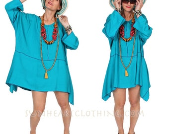 SunHeart BOHO TEAL TUNIC Top  hippie chic One Size fits small medium large extra large 1x 2x 3x 4x