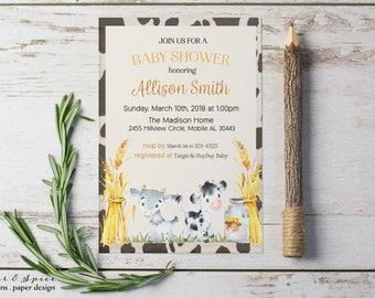 Farm Baby Shower Invitation, Printable Baby Shower Invitations, Baby Shower Invitation Gender Neutral, Country Baby Shower Farm Animals