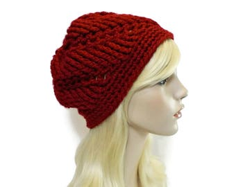 Red Beanie Hat, Dark Red Hat, Unique Beanies for Women, Hats for Teens, Crimson Winter Hat, Hand Crocheted Items, Christmas Gifts for Women