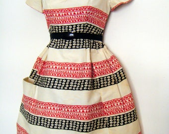vintage 1950s ETHNIC WOVEN PATTERN dress, size small