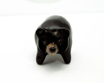Porcelain ceramic black bear figurine hand crafted Australian pottery / ceramic animals / animal totems / bear totem