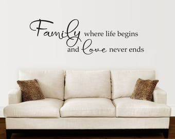 Family Wall Decal - Family where life begins and love never ends Decal - Quote Wall Sticker