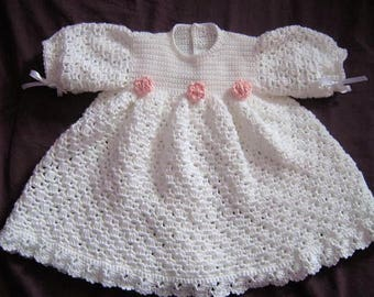Crochet Pattern - CR140 Angel Blessing Baby Dress and Floral Headband
