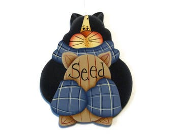 Black Kitty with Bird Seed Ornament, Handpainted Wood, Hand Painted Christmas Ornament, Tole Decorative Painting