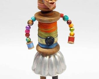 "Assemblage Art Doll Sewing Spool Thread ""Alanna"""