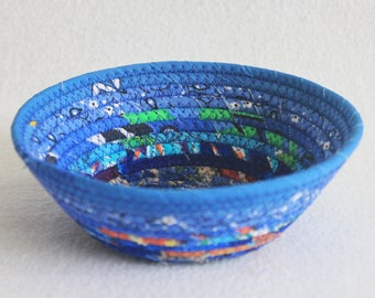 Small Fabric Bowl / Rustic Wrapped Fabric Basket / Blue Bohemian Round Coiled Clothesline Bowl by PrairieThreads