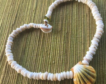 All natural puka necklace with unique Hawaiian sunrise shell pendant