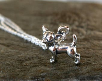 Chihuahua Necklace, Dog Necklace, Sterling Silver Dog Necklace