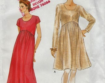 Very Easy Vogue 9296 / Vintage Sewing Pattern / Pullover Maternity Dress / Sizes 12 14 16