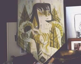 Snake in the grass - mixed media original art