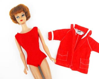 1962 Redhead Bubblecut Barbie with 1959 Resort Jacket & Red Helenca Swimsuit Vintage Original Fashion Doll Icon Mod Sixties Nautical Clothes
