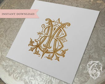 Vintage Wedding Monogram MB BM Digital Download M B
