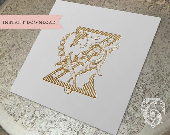 Vintage Wedding Monogram ZV VZ Digital Download Z V