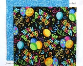 Birthday Napkin 12 inch Kids Cloth Napkin School Lunch Napkin Lunchbox Napkin, 1 double sided fabric napkin