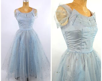 1950s Blue pink and Silver Tulle Formal // Mid 50s Periwinkle Gown // Prom Dress // Lace Pastel Light Blue cupcake