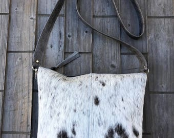Salt and Pepper Hair on Hide Gray Leather Cross Body Bag