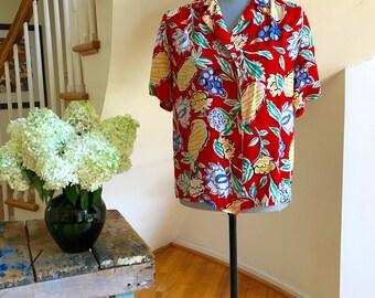 80s Oleg Cassini Silk Disco Blouse Button-down Boxy Boho Beachy Bold Colorful Abstract Flowers & Berries Legendary Designer