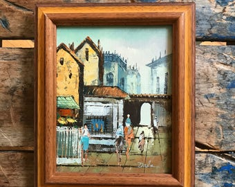 60s Framed Midcentury Painting Market Scene Small Original Expressionist Art Oil on Canvas Signed Dale Beautiful Burnished Palette