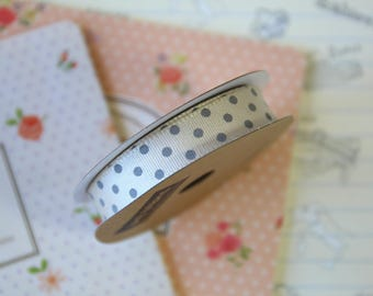 Cream & Grey Polka Dots grosgrain ribbon