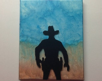 Gunslinger Silhouette, Melted Crayon Art Painting
