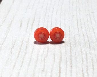Tiny Tomato Slice Post Earrings, Tomato, Fruit Slice Earrings, Vegetables, Red Earrings, Gift, Under 5 dollars, Gardener Gift, Summer