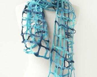 Blue Wool Scarf - Winter Scarf - Wool Felt Scarf - Chunky Blue Scarf