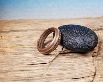Walnut and Maple Wood Ring with Crushed Pyrite Gemstone - Size 7 U.S.