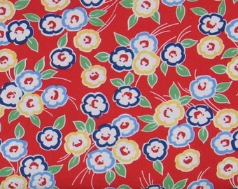 White, Blue, Red & Green Floral on Red 100% Cotton Quilt Fabric, Hi-De-Ho!, a Kim's Cause Collection by Maywood Studios, MAS9136-R