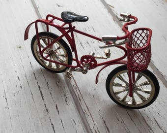 Miniature Child Size Bike, Red Bicycle, Dollhouse Miniature, 1:12 Scale, Mini Bike With Basket, Accessory, Shelf Sitter, Decor, Topper