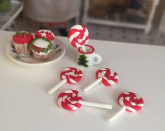 Miniature Candy Cane Lollipops, Set of 5, Dollhouse Miniature, 1:12 Scale, Mini Food, Dollhouse Food, Accessory, Decor, Crafts