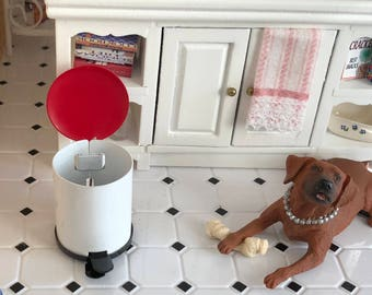 Miniature Trash Can, Red and White Step on Garbage Can, Dollhouse Miniature, 1:12 Scale, Dollhouse Accessory, Decor, Topper