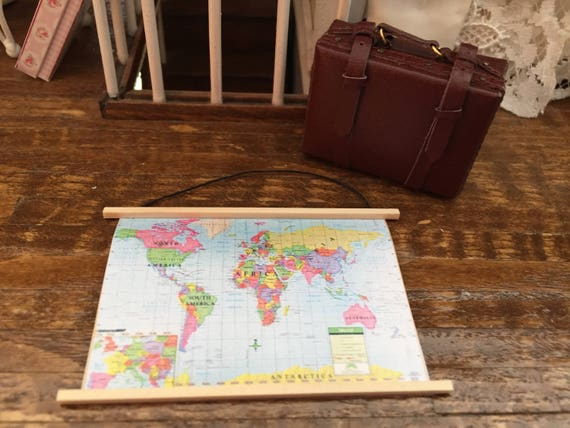Miniature Map, Wall Banner Map, Dollhouse Miniature, 1:12 Scale, Dollhouse Decor, Accessory, Mini World Map