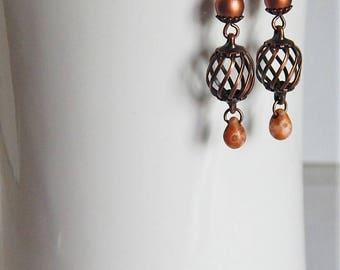 Copper dangle earrings - copper cage earrings - picasso czech glass - metallic - copper and cream - boho - bohemian - copper jewelry