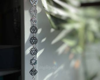Crystal Suncatcher, Chakra window hanger, Rainbow maker meditation room, decoration